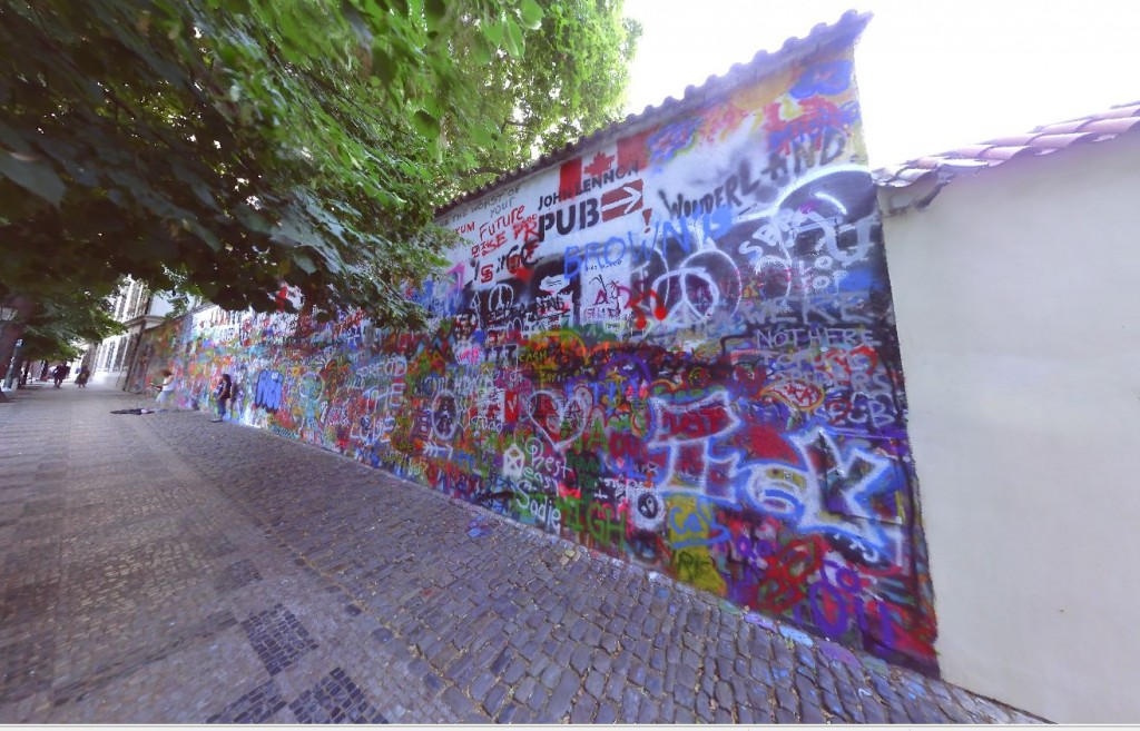 Laser Scanning Lennon Wall in Prague, Czech Republic